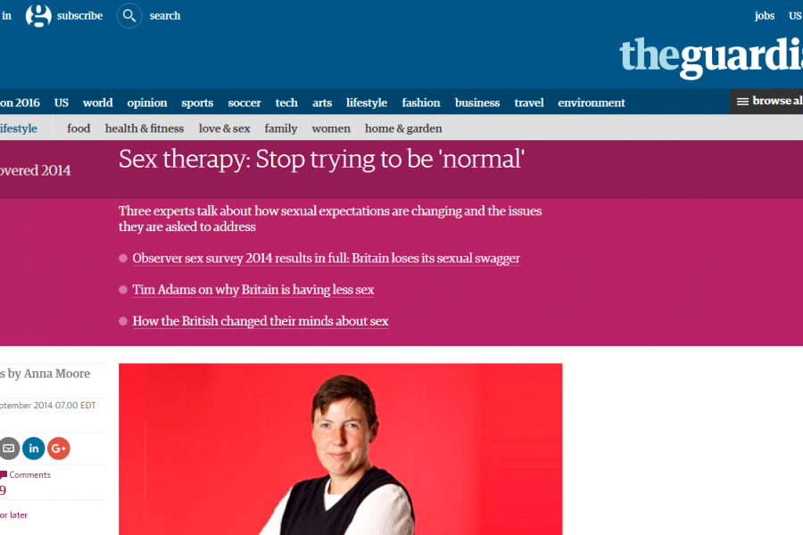 The Guardian Reports: <em>Sex therapy: Stop trying to be &#8216;normal&#8217;</em>