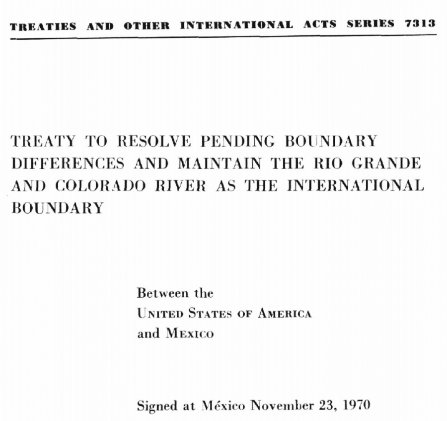 River Normal Flow Middle as International Boundary