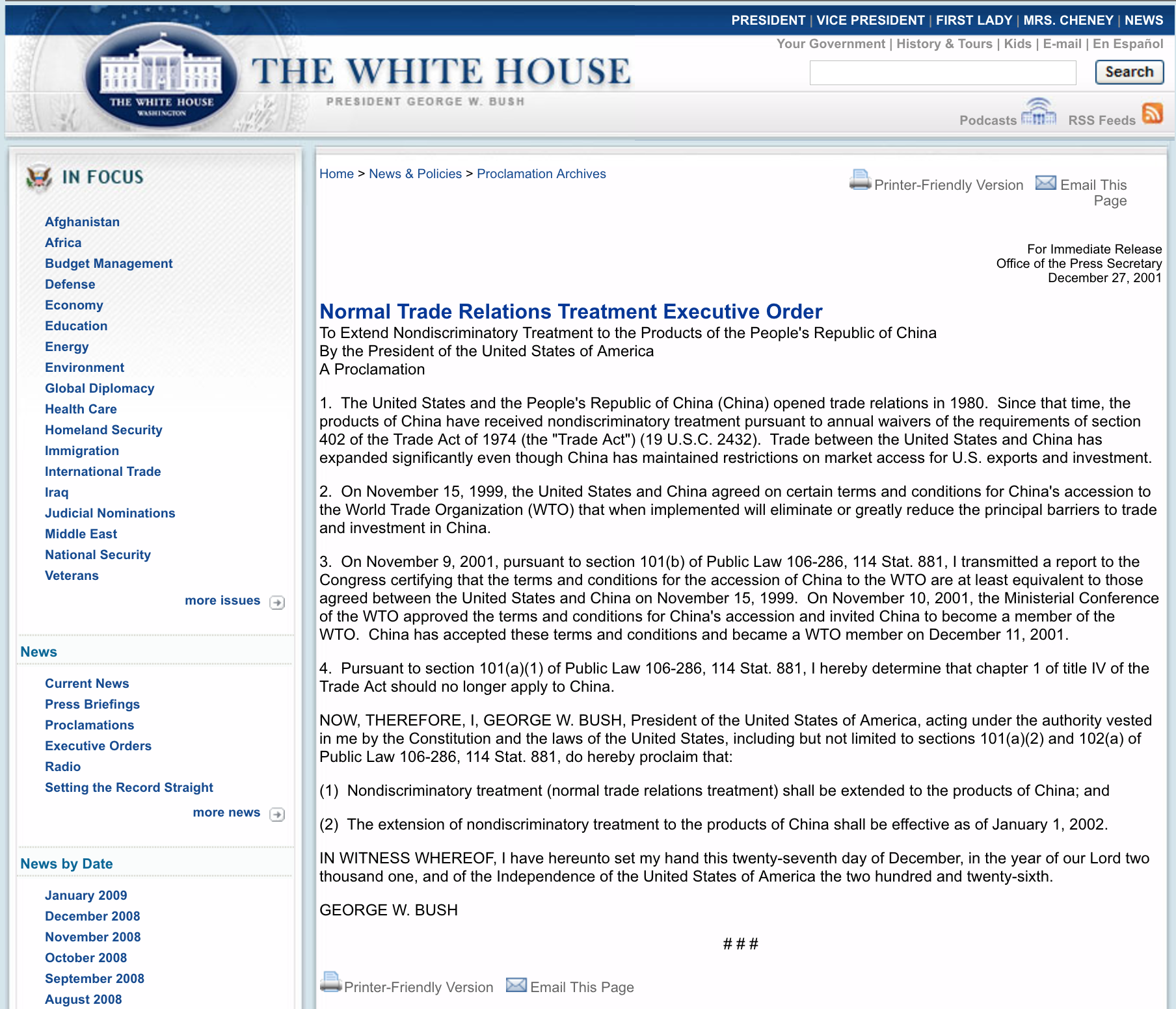 A Normal Executive Order to Extend Nondiscriminatory Treatment to the products of China