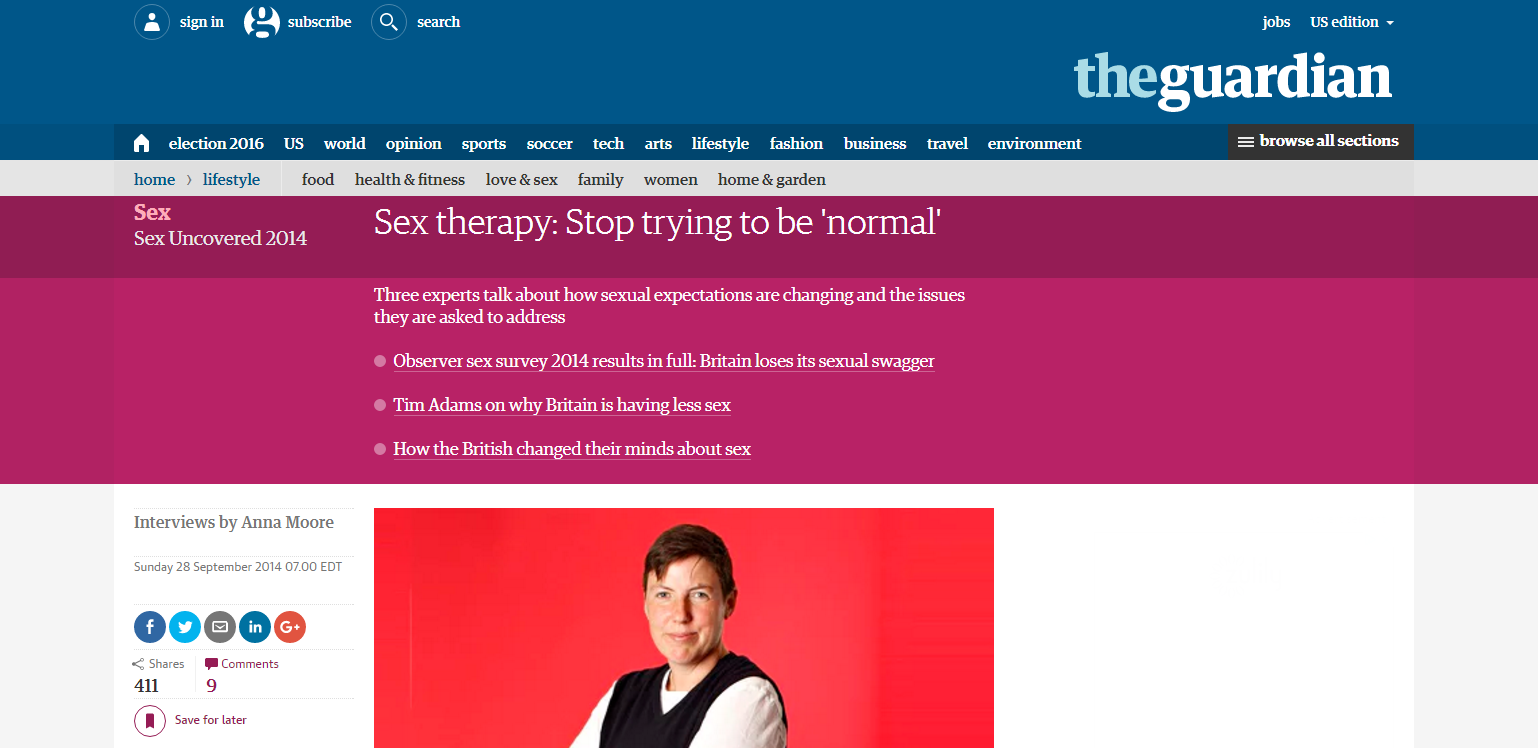 The Guardian Reports: <em>Sex therapy: Stop trying to be 'normal'</em>